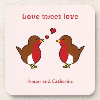Love tweet robins personalized pink coaster