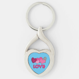 Love Twisted Heart Metal Keychain Silver-Colored Twisted Heart Key Ring