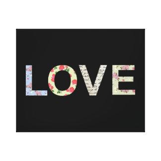 Love typography - Black Canvas Print