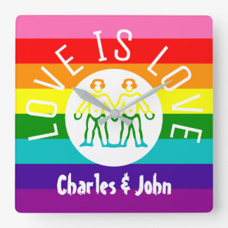 Love Typography Gay Couple Pride LGBT Rainbow Logo Clocks