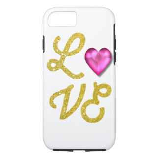 Love Typography Glitter Heart Jewel iPhone 7 Case