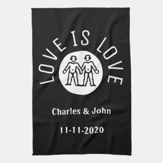 Love Typography Lesbian Gay Pride LGBT Black White Tea Towel