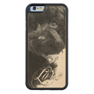 """Love"" Typography Pet or Pet Memorial Add Photo Carved Maple iPhone 6 Bumper Case"