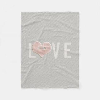 LOVE Typography & Pink Heart | Fleece Blanket