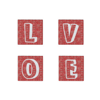 Love typography script Valentine's Day hearts Stone Magnet