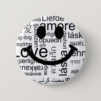 Love typography smiley 6 cm round badge
