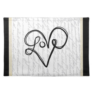Love Typography Text Art Placemat