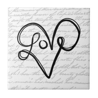 Love Typography Text Art Tile