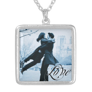 Love Typography Your Photo Template Square Pendant Necklace