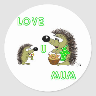 Love U Mum Classic Round Sticker