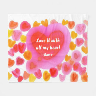 Love U With All My Heart Sweet Watercolor Custom Fleece Blanket