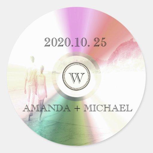 LOVE Unique Modern Retro CD Wedding Favor Round Sticker