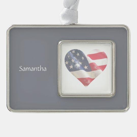 Love USA American Heart Flag Custom Name Silver Plated Framed Ornament