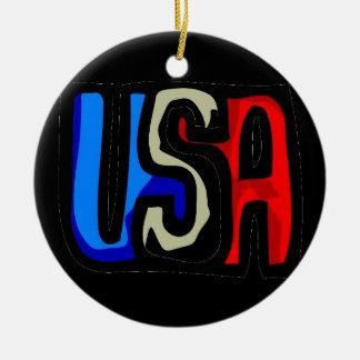 Love USA Ceramic Ornament