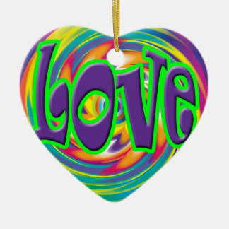 LOVE Valentine Heart Ornament Rainbow Background