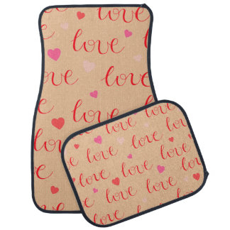 Love Valentine Pink Red Hearts Car Mat