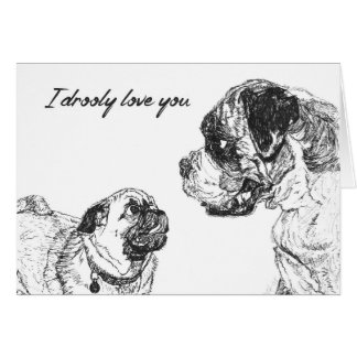 Love Valentines Couple Pug Boxer dog Card