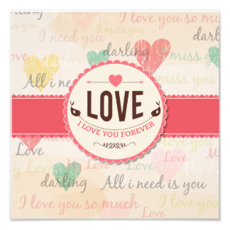 """Love"" Valentines day design with hearts Art Photo"
