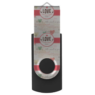 """Love"" Valentines day design with hearts Swivel USB 2.0 Flash Drive"