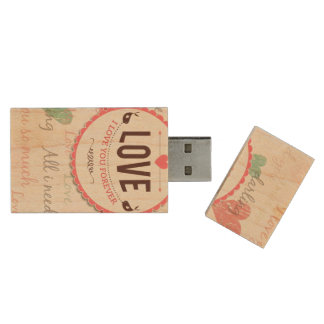 """Love"" Valentines day design with hearts Wood USB 2.0 Flash Drive"