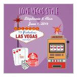Love Vegas Style Purple Wedding Invitation