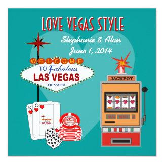 Love Vegas Style Teal Wedding Invitation
