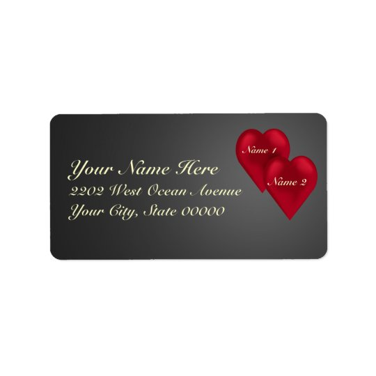 Love Velvet Hearts Address Label
