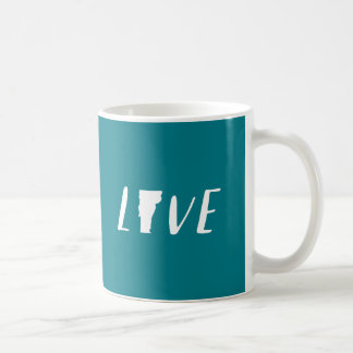 Love Vermont - White on Teal State Mug