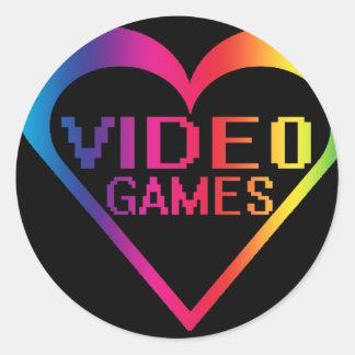 love video games round sticker