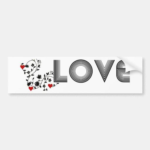 LOVE Vine with Hearts Bumper Stickers