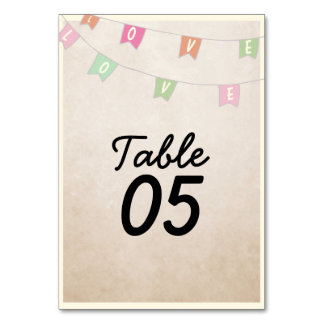 Love | Vintage Bunting Wedding Table Cards