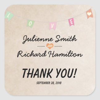 "Love | Vintage Bunting Wedding ""Thank you"" Favour Square Sticker"