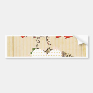 Love,vintage,grunge,old fashioned,floral,pattern bumper stickers