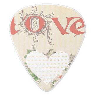 Love,vintage,grunge,old fashioned,floral,pattern white delrin guitar pick