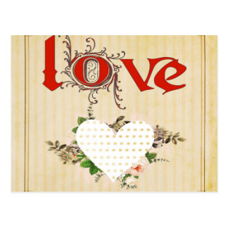 Love,vintage,grunge,old fashioned,floral,pattern postcard