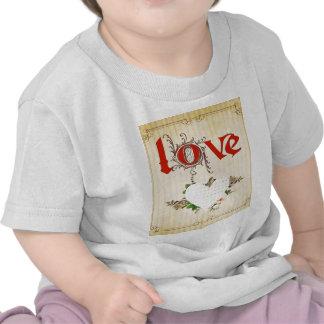 Love,vintage,grunge,old fashioned,floral,pattern t shirts
