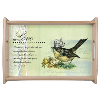 Love. Vintage Queen Bird Gift Serving Tray