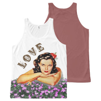 Love Vintage / Retro Girl with Flowers All-Over Print Tank Top