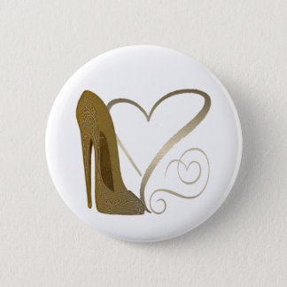 Love Vintage Stiletto Shoe Art and Hearts 6 Cm Round Badge