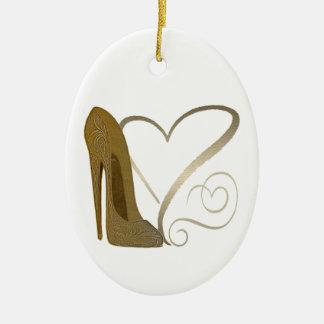 Love Vintage Stiletto Shoe Art and Hearts Ceramic Oval Decoration