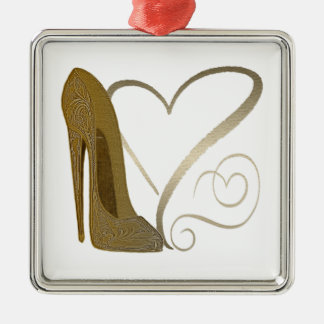 Love Vintage Stiletto Shoe Art and Hearts Christmas Ornament