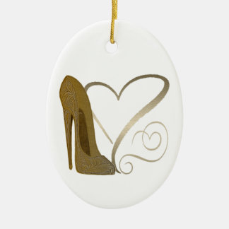 Love Vintage Stiletto Shoe Art and Hearts Christmas Ornament