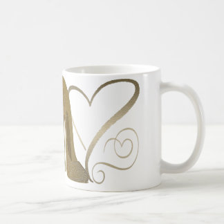 Love Vintage Stiletto Shoe Art and Hearts Coffee Mug