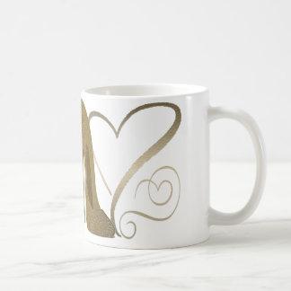 Love Vintage Stiletto Shoe Art and Hearts Coffee Mug