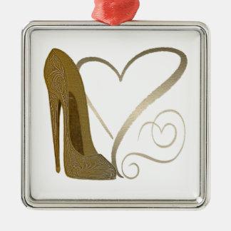 Love Vintage Stiletto Shoe Art and Hearts Silver-Colored Square Decoration