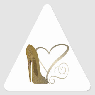 Love Vintage Stiletto Shoe Art and Hearts Triangle Sticker