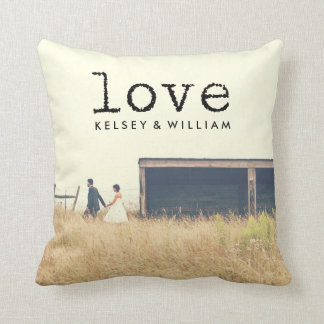 Love Vintage Typewriter Font Typography for Photo Throw Pillow