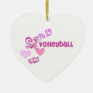 Love Volleyball Ceramic Heart Decoration