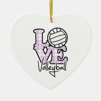 Love Volleyball Double-Sided Heart Ceramic Christmas Ornament