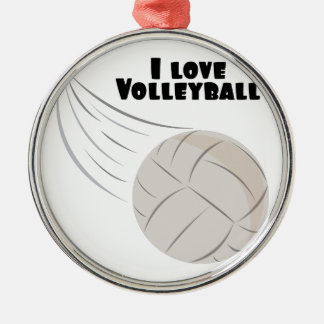 Love Volleyball Silver-Colored Round Decoration
